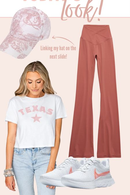 Today's casual outfit of the day! Love the cut on these aerie leggings paired with this Buddy Love Texas tee! #aerie #leggings #tshirt #buddylove #nike #sneakers   #LTKshoecrush #LTKunder100 #LTKSeasonal