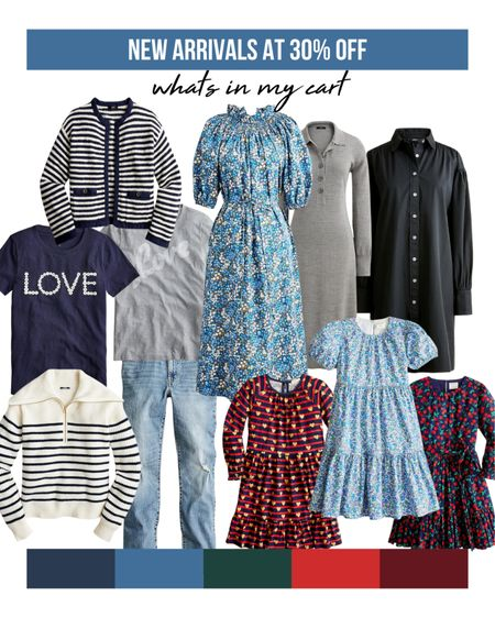 New arrivals from J.Crew on sale at 30% off with code SHOPNOW.   Whether you're looking for work outfits, business casual outfit ideas, back right school outfits, fall outfits, or even teacher outfits, there's something for everyone!  My favorites: the liberty floral dress, the striped pullover sweater, the super versatile puff sleeve cotton shirt dress, and the love graphic tees. I also stocked up on back to school dresses for my daughter on sale.     #LTKsalealert #LTKSeasonal #LTKbacktoschool