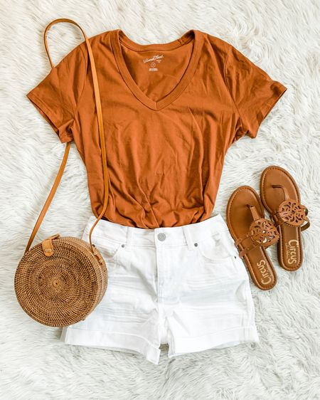 The best tees are 2 for $14! I wear a medium. Also linking some fun new white shorts because this pair is mostly sold out. Go up a half size in these Tory Burch look-for-lesses (is that even a word? 🤔🤣) Happy Monday, er, Tuesday! http://liketk.it/3gD4z #liketkit @liketoknow.it #LTKunder50 #LTKsalealert #LTKstyletip #targetstyle