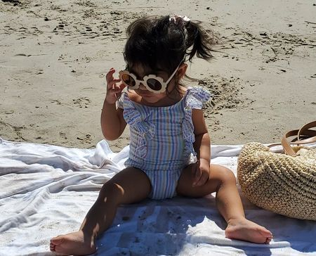 Sharing all the beach inspo. Audrey's sunnies are new & come in a pack of three. Also linking her swimsuit & my fav beach towel & bag.
