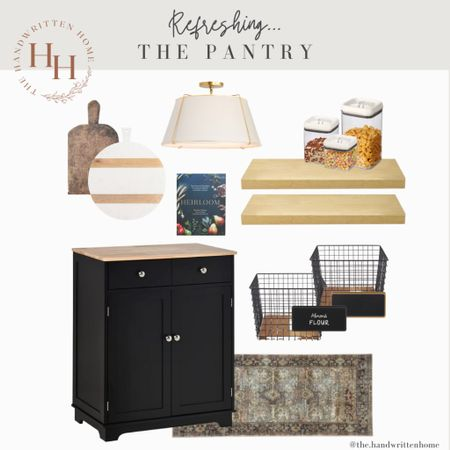 Pantry Organization  Keeping your kitchen organized is key to a well run home.  If you lack a pantry, consider using a free standing island on a blank wall.   Pantry   pantry inspo   pantry organization   canisters   baskets   rejuvenation lighting   open shelving   floating shelves   loloi rugs  #LTKfamily #LTKhome #LTKstyletip