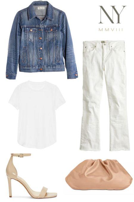 Spring Capsule Closet 2020 // Neutral spring outfit idea, timeless spring essentials, neutral spring look #liketkit @liketoknow.it http://liketk.it/2KiVb #LTKshoecrush #LTKspring #LTKstyletip  Jean Jacket, White Jeans for Spring, White Tee, Classic White Tee, Nude Sandals, Nude dressy heels, Bottega Veneta pouch dupe