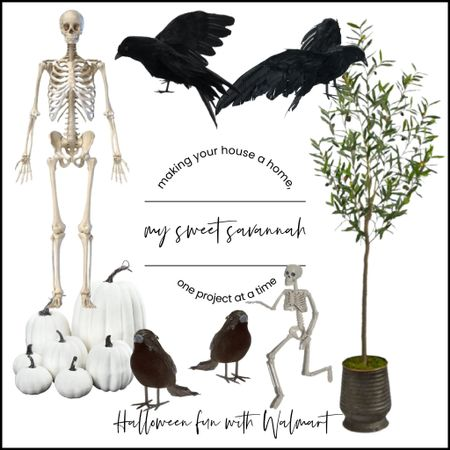 Get your home ready for Halloween with this life-size skeleton and crows! Everything I used to create a great chic and spooky vignette in our dining room right here, all from #WalmartHome #sponsored   #LTKhome #LTKstyletip #LTKSeasonal