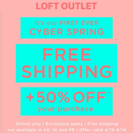 Get free shipping + 50% off your purchase + plus get an extra 10% off when you buy 4+ items at LOFT Outlet. Use code CYBER. Excludes early access items. Sale ends 4/14. 🛍 Shop my sales picks @liketoknow.it http://liketk.it/2B6VF #liketkit #LTKsalealert #LTKspring #LTKunder100 #LTKunder50 #LTKworkwear