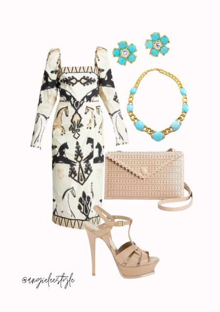 Loving this unique Johanna Ortiz midi dress paired with Saint Laurent stiletto sandals, Alana Louise clutch, David Webb couture turquoise necklace WOW! And the cutest little flower studs🌸   #LTKstyletip #LTKshoecrush #LTKeurope