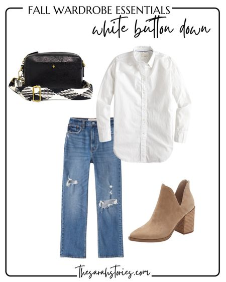 FALL ESSENTIALS : CLASSIC WHITE BUTTON SHIRT  // Fall outfit idea, Fall transition outfit, straight jeans, taupe booties   #LTKstyletip #LTKunder100
