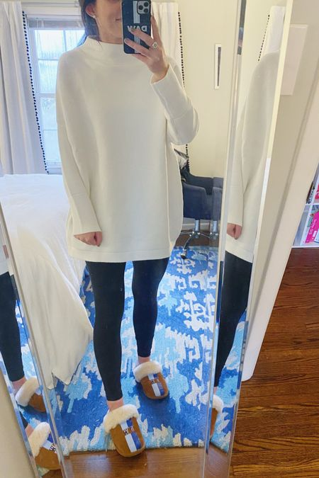 I just discovered my new favorite wear with leggings or jeans sweater. It's supposedly a dupe for one that looks nearly identical from Free People. It comes in 8 colors and I'm wearing it in white in a small. It's pretty oversized so you could definitely size down. I love the mock turtleneck size and how the sleeves are slightly more fitted plus it's SO soft and affordable. #liketkit @liketoknow.it #StayHomeWithLTK #LTKunder50 http://liketk.it/32LS7