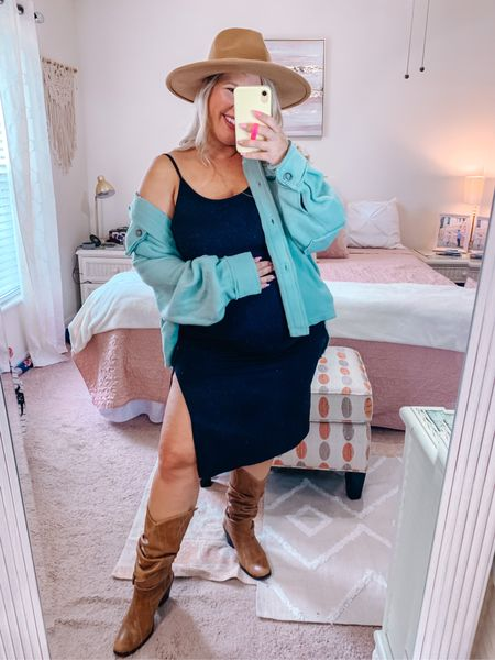 A little sassy, a little western, a lot of comfy.   Wearing a large in the dress and a jacket.   #LTKbump #LTKSeasonal #LTKcurves