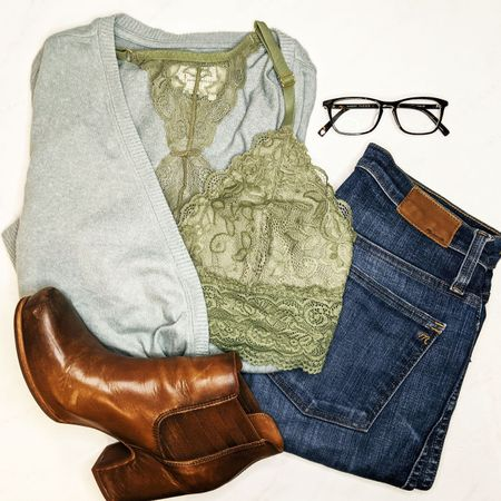 I've been wearing this cozy at home outfit on repeat. The insanely soft light blue wrap sweater is just lowcut enough to pair with this sage green lace longline bralette, and my lightweight brown leather wedge booties are comfy enough to wear all day! Seriously. They're that comfortable. And you'll always find me in my high rise straight leg jeans -- they hold in the mummy tummy ;)  #StayHomeWithLTK #LTKstyletip #LTKNewYear