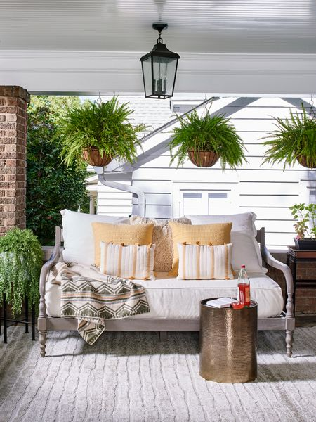 How do you make your front porch feel like a bonus room? Give it an update!   It can be as easy as updating the flooring/ adding a rug, and some comfy furniture to create a space that you WANT to spend time in.   I love how this front porch from one of our #TyBreaker episodes turned out. I'd definitely want to hang out on this day bed! Would you?  Head over to the link in my bio to shop this rug from the #SabrinaSotoCollectiob! http://liketk.it/3d581 #liketkit @liketoknow.it #LTKhome