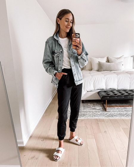 daily outfit! Love these lululemon joggers so much! Fit tts (wearing a 4). This is my favorite oversized denim jacket (wearing an XS) white tshirt (small) white Birkenstock sandals (tts) http://liketk.it/3hjdW  #liketkit @liketoknow.it #LTKstyletip #LTKunder100 #LTKshoecrush