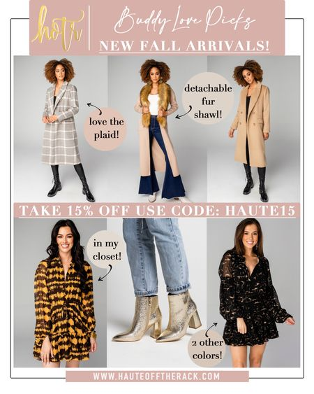 Grab some coats for fall and winter & use my code HAUTE15 for 15% OFF! Love these gold booties and dresses too! #falloutfit #falloutfits #buddylove #boots #booties #goldbooties #cardigan #coat #plaidcoat #camelcoat #fallfashion  #LTKGiftGuide #LTKsalealert #LTKunder100