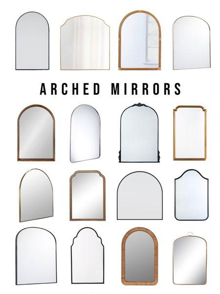 Arched bathroom vanity mirrors for every budget.   Black mirror, brass mirror, nickel mirror, wood mirror, rattan mirror     #LTKhome #LTKsalealert #LTKunder100