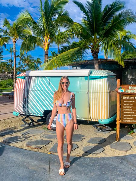 I am obsessed with this rainbow striped sear sucker high waisted swimsuit with ruffles from J Crew! It comes in a bikini style as well. So cute for my beach honeymoon in Hawaii! I've also been using my beaded mask chain from Madewell every day  #LTKSeasonal #LTKtravel #LTKswim