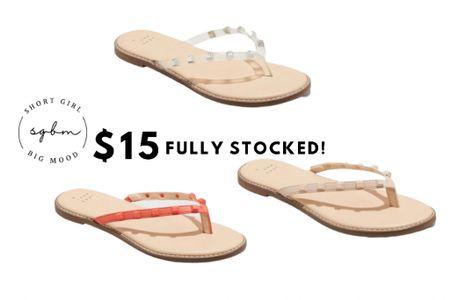 http://liketk.it/3hRqF #liketkit @liketoknow.it #LTKshoecrush #LTKstyletip #LTKunder50 studded sandals, studded flip flops, Target sandals, $15 sandals, affordable shoes