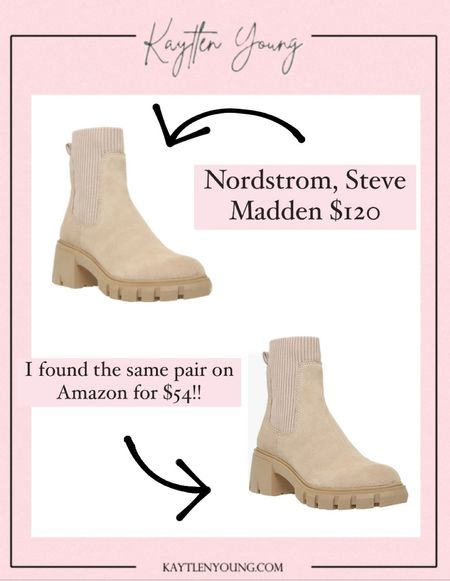 Steve Madden fall boots dupe $120 compared to $54 under $60 fall booties
