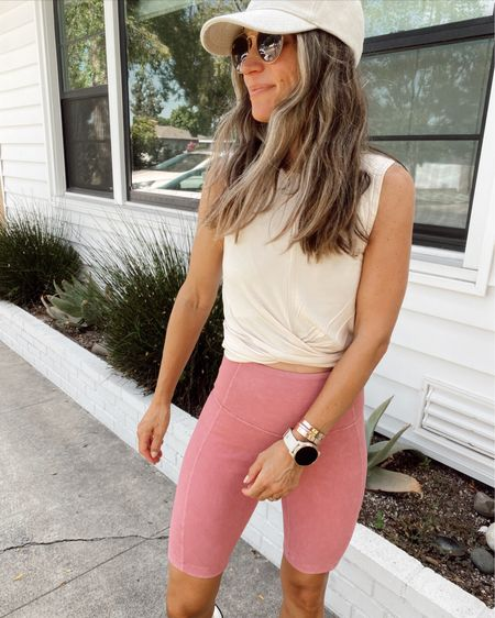 Pink ribbed biker shorts (have a back pocket for a key) come in several colors and twist front crop tank from Nordstrom sale… both are great for warm weather workouts //   #LTKunder50 #LTKfit
