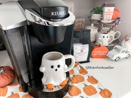 Ghost mug for morning coffee at ModernFarmhouseGlam  Glam Girl's coffees available on www.modernfarmhouseglam.com  Keurig coffee bar Fall home decor Halloween   #LTKHoliday #LTKSeasonal #LTKhome