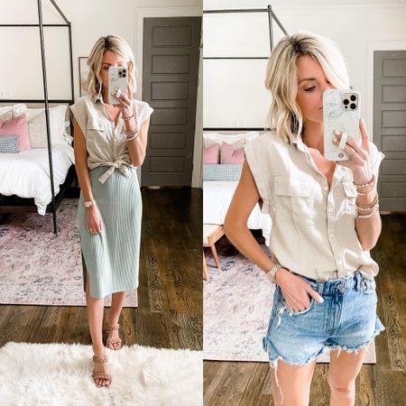 Loverly Grey summer look: how to style a utility shirt two ways!   #LTKDay #LTKstyletip #LTKsalealert