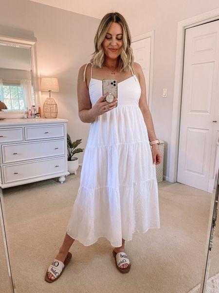 Abercrombie tiered midi dress. Wearing M! • http://liketk.it/3hf5U @liketoknow.it #liketkit   White dress, summer dress, bachelorette dress, beach Dress, Vacation Dress, Summer outfit