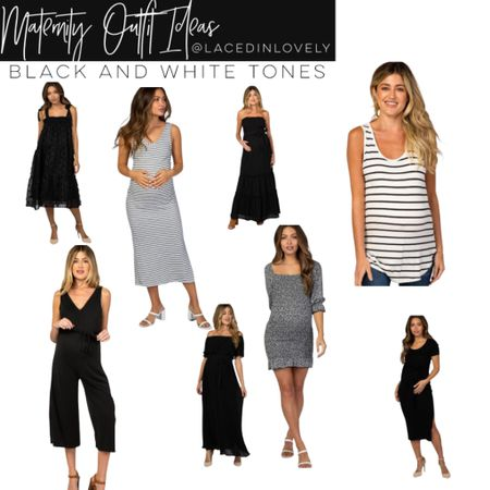 Cute Maternity styles in black and white tones! These maternity styles are comfy and great quality. Pink Blush has a discount code at the top of their website that changes daily. Today it is code SWEETDEAL for 30% off dresses. 25% off bottoms, and 20% off tops.  I wear a size medium unless otherwise noted!  #LTKsalealert #LTKstyletip #LTKbump