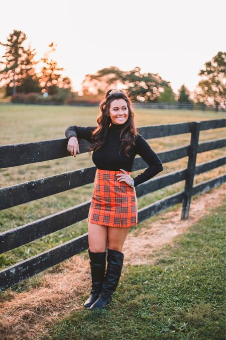Fall inspo! Black turtleneck bodysuit paired with orange plaid skirt and over the knee boots 🍁🍂❤️💛💋   Shop my daily looks by following me on the LIKEtoKNOW.it shopping app!   http://liketk.it/2Z2pN   #fall #fashion #october #orange #sale #LTKunder50 #LTKstyletip #LTKshoecrush #liketkit @liketoknow.it