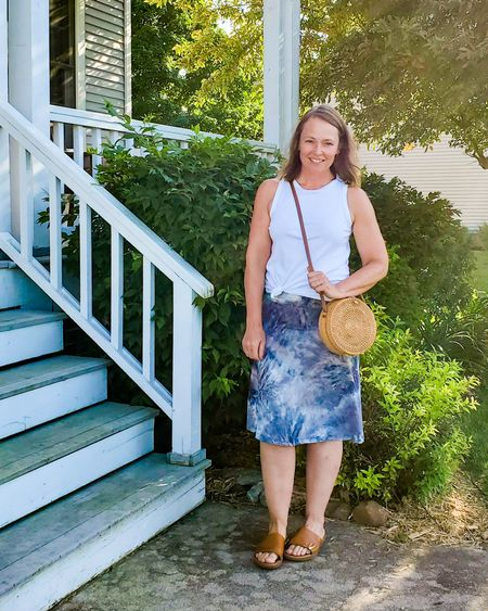 Casual everyday comfy summer outfit featuring a tie dye skirt, white tank top, sandals, and a round rattan bag. http://liketk.it/2QhT8 @liketoknow.it #liketkit #tiedye #skirt #summer #casual #comfy