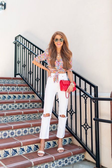 SUMMER vibes in this fab tie front top, fave white jeans & fun white heels! So here for the colors in this floral top- happy & warm temp ready. Will be so cute with cutoffs too! Jeans are under $100 & the best 🙌🏻 Happy Wednes! Shop all this by following me in the @liketoknow.it app http://liketk.it/3gFyN  #liketkit #LTKDay #LTKshoecrush #LTKunder100   #showmeyourmumu #abercrombiestyle