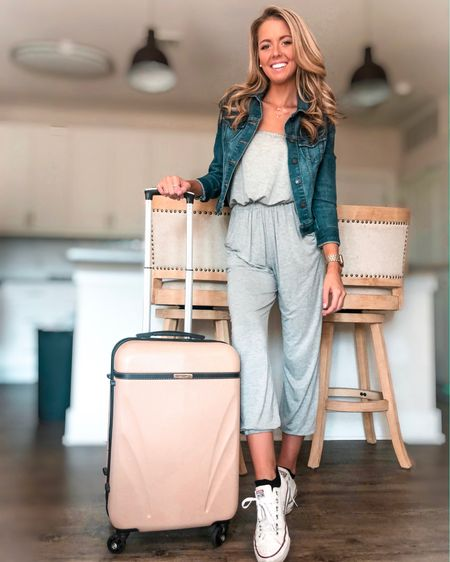 ✌🏼 out CLT! Taking off to one of my favorite cities for the weekend and I can't wait ☺️ what's everyone's favorite city? Leave a comment and let me know! On that note, I think I've finally nailed the perfect travel outfit. Comfy Jumpsuit✔️ Jean Jacket✔️ Converse✔️... oh and then I guess the suitcase is necessary too, huh? 🙈 I've talked about this jumpsuit on my blog before, but I seriously can't get enough of it! 💕 Outfit details are linked here for y'all 👉🏼 http://liketk.it/2E0M5 or you can use the @liketoknow.it app.  ————————————————— Want to save a few doll hairs? Use code MORETHANMEG15 to save you 15% off at checkout 😊 #liketkit #LTKunder50 #LTKsalealert #LTKstyletip