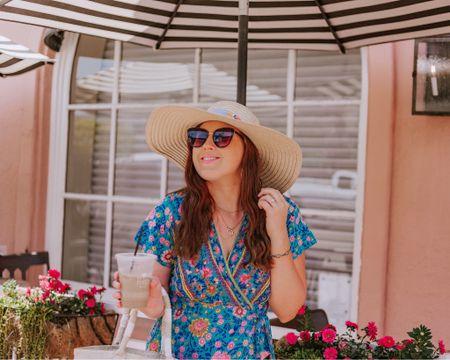 Cream Sun hat, gold moon necklace, floral turquoise wrap dress size Small, cat eye sunglasses, straw purse, tan espadrilles.   http://liketk.it/2QhoU #liketkit @liketoknow.it