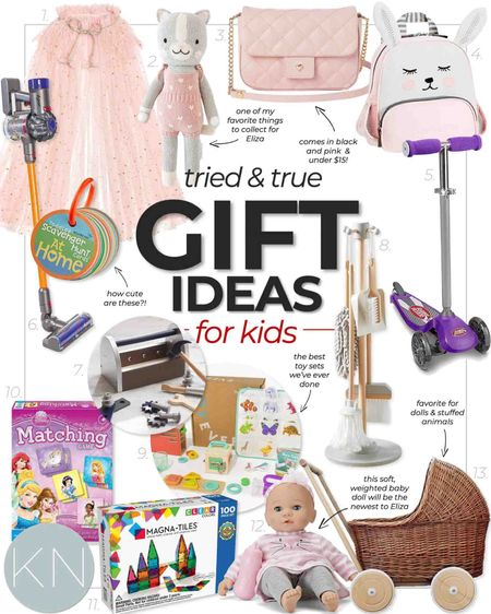 Tried and true gifts for kids— order now to ensure delivery for the holidays! Classic gift ideas toddler gift girl gift imaginative play pink cape toddler backpack woven doll pram baby doll toddler purse Chanel purse magna tile match game kid tool set  #LTKkids #LTKHoliday #LTKGiftGuide