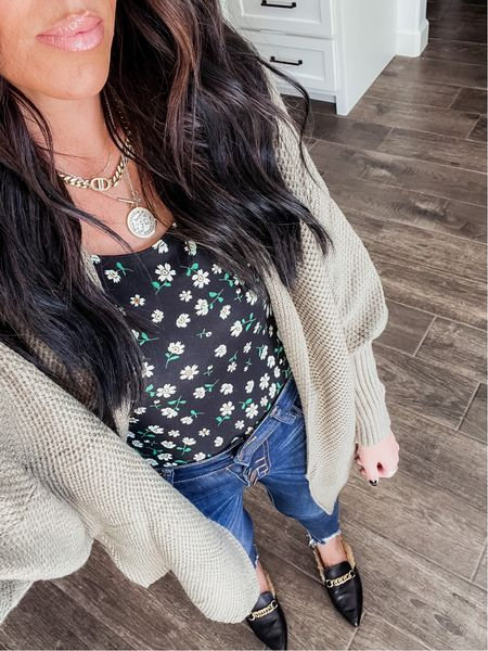 OOTD!! Bodysuit - size M Cardigan - sized up to a L (for an oversized look, otherwise runs tts) Jeans - size 7 (use code Mollyann20)   #LTKunder50 #LTKstyletip #LTKunder100