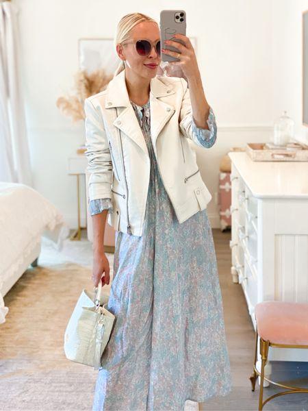 H&M pastel maxi dress with collar. Faux leather biker jacket. White booties. Fall style.   #LTKunder50 #LTKstyletip #LTKSeasonal