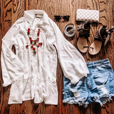 My all time favorite summer look is #goodjeans & the perfect white shirt! This cutie top doubles as a swim coverup & is only $22! And y'all know I'm gonna add some #sassyshoes. 😍 Shop my daily looks by following me on the LIKEtoKNOW.it app. http://liketk.it/2Cdtf #liketkit @liketoknow.it #LTKsalealert #LTKshoecrush #LTKspring #LTKstyletip #LTKunder50 #LTKunder100