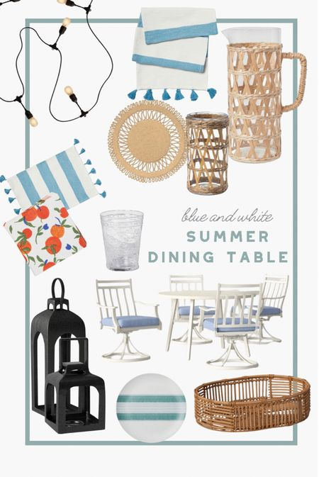 You can never go wrong with blue and white for the summer. Get this darling blue and white table design for 4 for your summer entertaining needs. #outdoorfurniture #patiofurniture #rattan #blueandwhite #summerhome   #LTKSeasonal #LTKhome