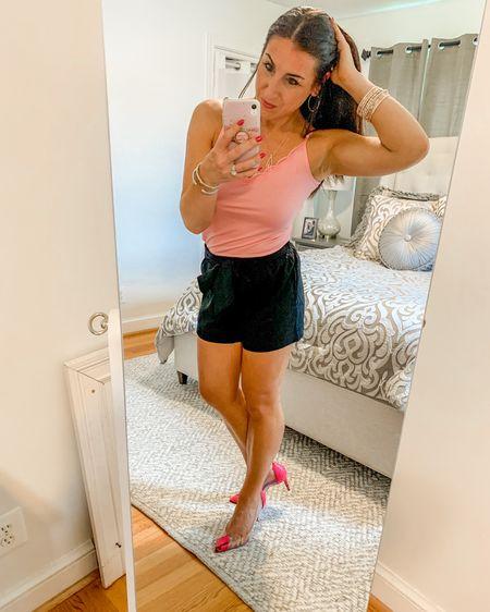 Date night outfit pink pumps linen shorts layered bracelets http://liketk.it/2RhRY #liketkit @liketoknow.it #LTKshoecrush #LTKsalealert #LTKstyletip
