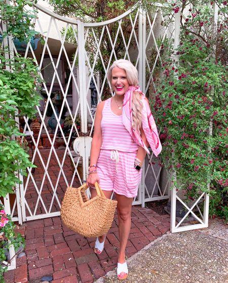 Pink stripped romper size L White sandals TTS  Hair scarf amazon  Gold necklace on sale  Nordstrom sale  Beach bag Summer outfit   #LTKunder50 #LTKsalealert #LTKshoecrush