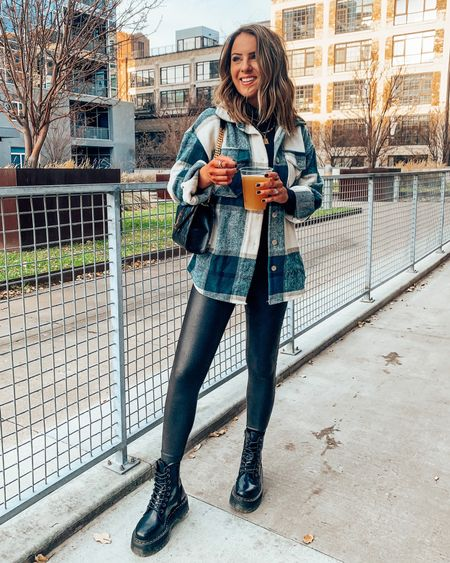 Casual fall outfit idea - Shacket + bodysuit TTS, size up one in Spanx faux leather leggings!   #LTKSeasonal #LTKstyletip #LTKunder100