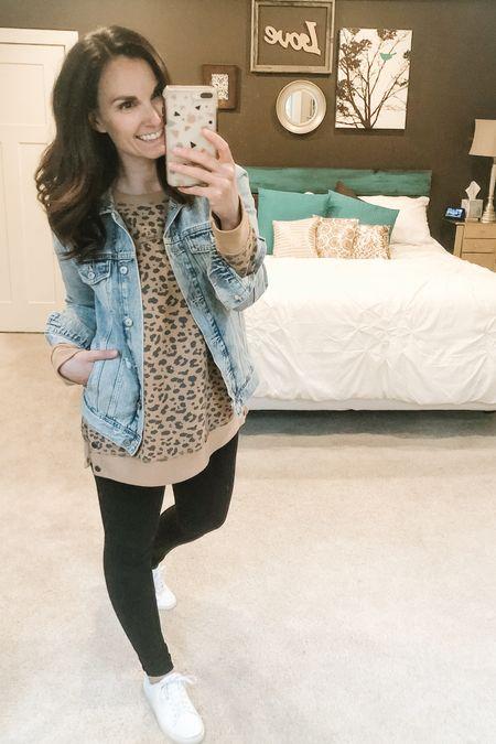 A leopard sweater, my favorite denim jacket, black leggings and white tennis shoes, might be my new go to outfit. #LTKspring #LTKshoecrush #LTKsalealert http://liketk.it/2O1yN #liketkit @liketoknow.it Shop my daily looks by following me on the LIKEtoKNOW.it shopping app