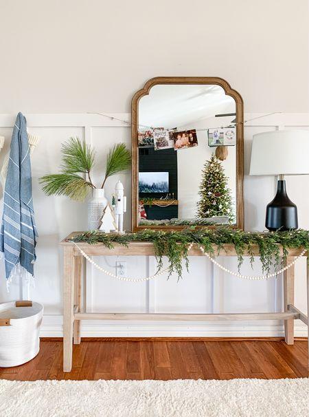 Neutral entryway table decor. Entryway Christmas decor inspo.   #LTKhome