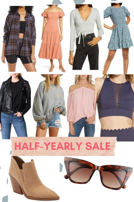 Last day to shop the Nordstrom half yearly sale! My pics for the Half-Yearly Sale // women's clothing // workout outfit // summer dresses // leather jacket // neutral booties // cat eye sunglasses // plaid shirt jacket // Nike // Blank NYC Denim   #LTKsalealert #LTKunder100 #LTKunder50
