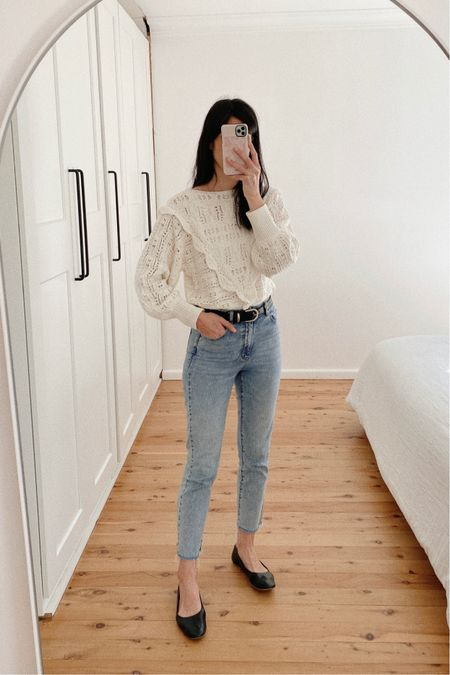What I wore today. An oversized ecru crochet knit sweater with a slim fitting jean and ballet flats 🤍  #LTKaustralia #LTKSeasonal