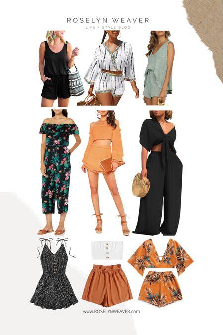 Amazon - Vacation outfits, 2 piece sets, weekend bag, straw bag, romper, jumpsuit, white sandals, lounge set, statement earrings, waterproof slides    http://liketk.it/3i0QF #liketkit @liketoknow.it #LTKstyletip #LTKunder100 #LTKunder50