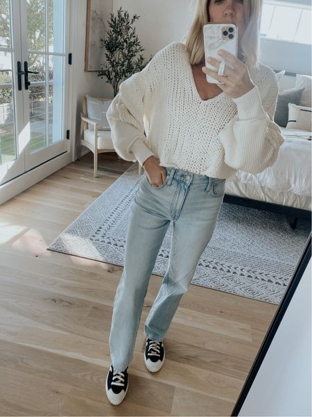 Free people sweater, madewell straight leg jeans, veja sneakers