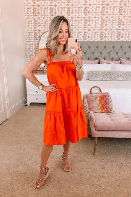 Orange shift dress with rainbow tote and studded sandals   Dress Fit: I'm wearing a Small http://liketk.it/3hBlY #liketkit @liketoknow.it #LTKunder50 #LTKstyletip #LTKshoecrush