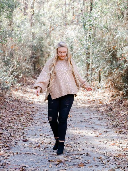 Metallic gold leopard print sweater with black jeans and black heeled booties    http://liketk.it/2IjFO #liketkit @liketoknow.it #LTKholidaystyle #LTKunder100 #LTKunder50