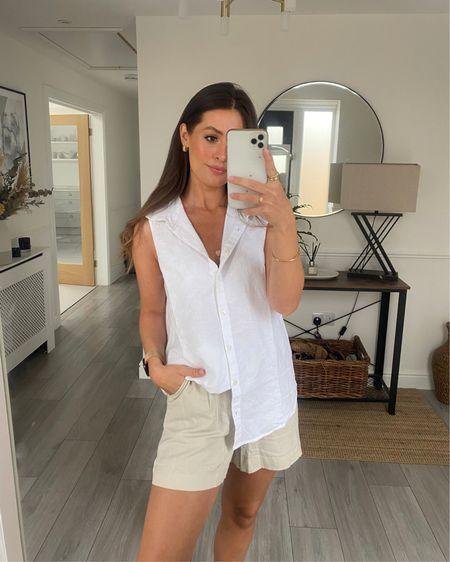 Amazon prime day final day today Love these beige linen shorts & white linen shirt http://liketk.it/3iazK #liketkit @liketoknow.it