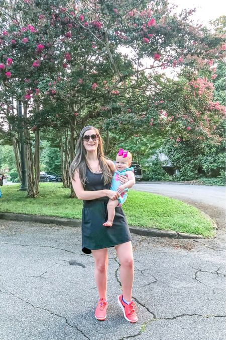 My mom uniform lately. 💕 I love that I can actually workout in this skort too. I paired it with a black tank to make it look like a dress. I personally never wear clothes other than athleisure/lounge wear or pjs when I'm hanging out around the house and this skort helps me feel more put together.   #LTKbaby #LTKfamily