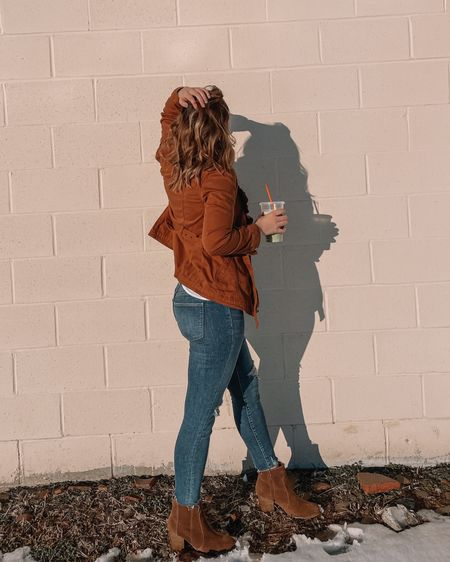 White cami and rust orange jacket are a size small. Pair with brown booties and distressed jeans! http://liketk.it/398jt #liketkit @liketoknow.it #LTKunder100 #LTKunder50 #LTKstyletip