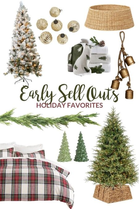 My favorite holiday finds that are sure to sell out early!! Things like a flocked Christmas tree, mercury glass ornaments, faux cedar garland, decorative brass bells, pre-lit Christmas tree, plaid Christmas bedding, miniature ceramic Christmas trees, woven tree collar, reversible tree towels and more! Shop now before they go out of stock!!  #LTKSeasonal #LTKhome #LTKHoliday